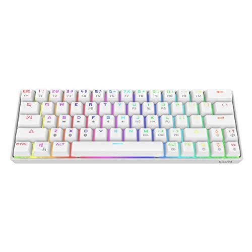 Dierya 60% mechanische Gaming-Tastatur, Bluetooth 4.0 Verkabelte/Kabellose Computer-Tastatur 63 Tasten Kompakt mit RGB-Hintergrundbeleuchtung, 1900 mAh Batterie Blauer Schalter(QWERTY Layout)