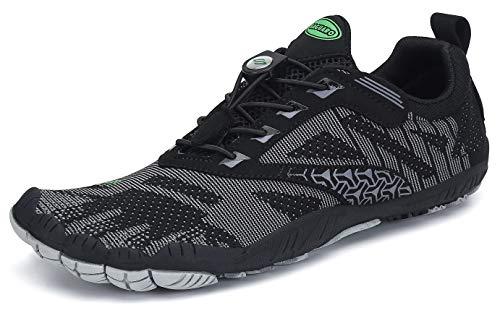 SAGUARO Hombre Mujer Barefoot Zapatillas de Trail Running Escarpines de Deportes Acuaticos Transpirable Calzado Minimalista para Fitness Entrenamiento Gimnasio, Negro 45 EU