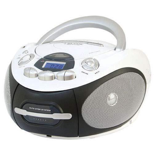 Majestic AH 2387R MP3 USB - Boom Box met CD/MP3-speler, USB-ingang, cassetterecorder, hoofdtelefoonaansluiting, wit
