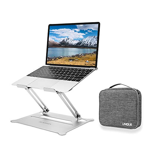 ENQINN Adjustable Laptop Stand with Storage Bag, Ergonomic Aluminum Laptop Computer Stand, Laptop Riser Stand for Desk 10-15.6' Laptops