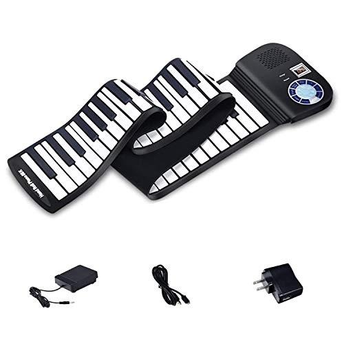 iLearnMusic Roll Up Piano | Portable Keyboard Piano | Hand Roll Electric Piano Keyboard | Premium Silicone & Built-In Speakers (61 Keys, Black)
