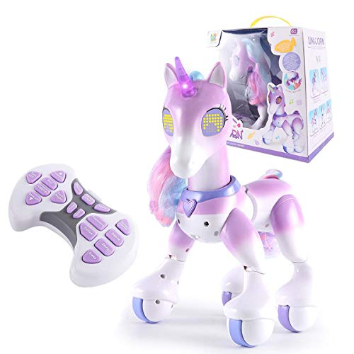 Baby rabbit-SS Electronic Pet Toy, Remote Control Unicorn, Touch-Sensitive Voice-Activated Interactive Educational Robot,Purple