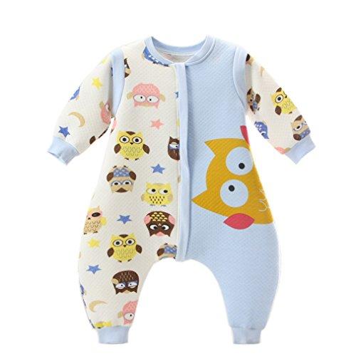 Kauftree Baby Kinder Schlafsack Ganzjahresschlafsack Außensack mit Beinen Schlafstrampler Winter Cartoon Eule (L für Körpergröße 80-90cm, Blau)
