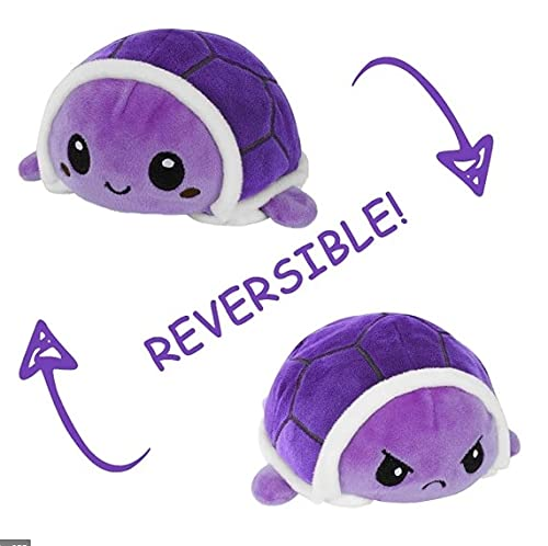 Peluches Reversibles Divertidos - Animales Super Suaves - Regalos Originales - Distintos Colores - Juguetes muñecos - Cara Feliz niños pulpos tiktok (Tortuga Violeta)