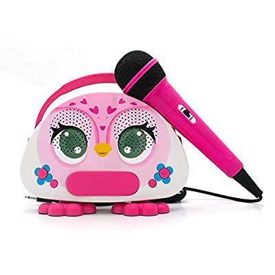 N\A Kids Karaoke Machine with Microphone Bluetooth Karaoke Speaker Birthday Toy Gift for Toddler Girls Rechargeable Battery Music Toys owl Singing Machine Gift for Christmas by SAMMIN