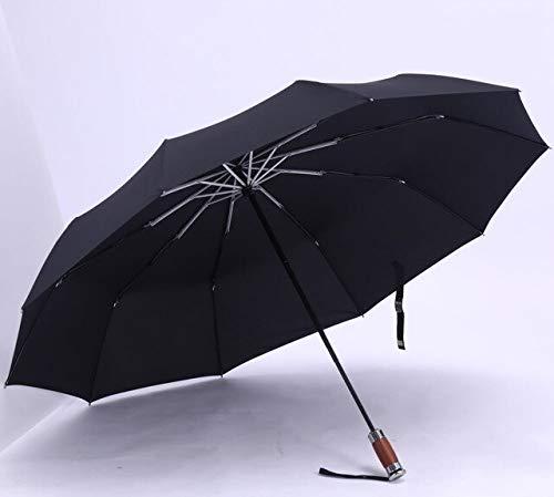BDWS Paraguas Paraguas Plegable Grande Genuino Lluvia 1,2 Metros Hombres de Negocios sombrillas automáticas Viento sombrilla Masculina Azul Oscuro y Negro China Negro