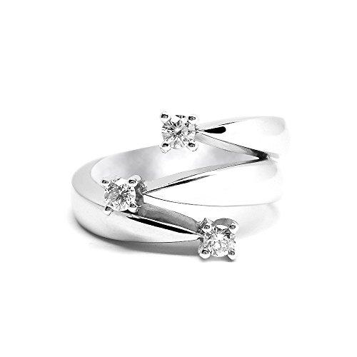 Anello Trilogy con 3 Diamanti Naturali IF 0.34ct in oro bianco 18kt