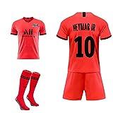 DEAN Sommer Paris Heim- und Auswärtsuniform MBAPPE # 7 Neymar JR # 10 Fußballuniform, Erwachsene Kinder Trainingsanzug + Socken, kann angepasst werden-Colour10-L