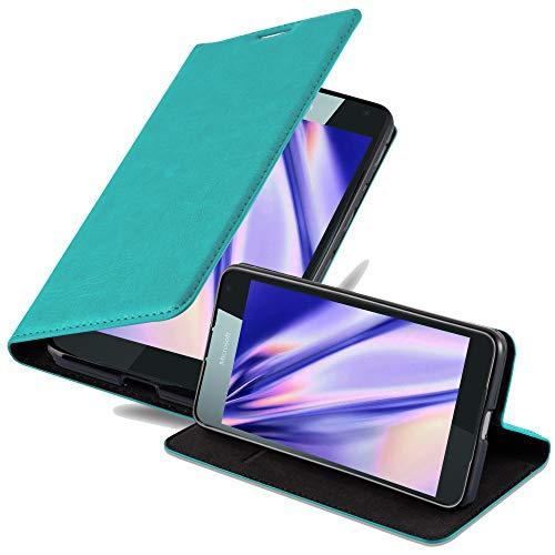 Cadorabo Hülle für Nokia Lumia 650 - Hülle in Petrol TÜRKIS – Handyhülle mit Magnetverschluss, Standfunktion & Kartenfach - Hülle Cover Schutzhülle Etui Tasche Book Klapp Style
