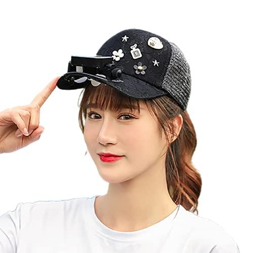 Byrotson Sombrero para el Sol para Mujer con Ventilador Solar, protección UV de Verano, Sombrero de béisbol de ala Ancha, Sombreros de Playa, con energía Solar/Carga USB,Negro,One Size