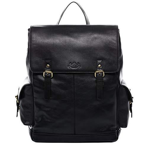 SID & VAIN Rucksack echt Leder Samy groß Kurierrucksack Backpack Tagesrucksack Laptopfach...