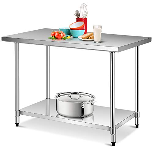 Giantex 48 x 30 Inches Stainless Steel Food Prep Table, Heavy Duty Commercial Kitchen Work Table with Adjustable Shelf and Feet, NSF Kitchen Storage Table for Restaurant Home