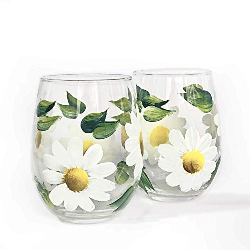 Hand Painted White Daisy Flower Stemless Wine Glasses - Gift for her - Daisy Flower Wine Glass - Set of 2-15 oz - Artisan Hand Painted