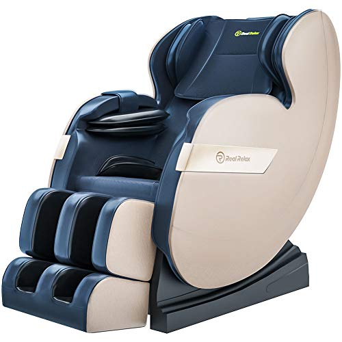 Real Relax 2020 Massage Chair, Full Body Zero Gravity Shiatsu Recliner with Bluetooth and Led Light, Blue and Khaki