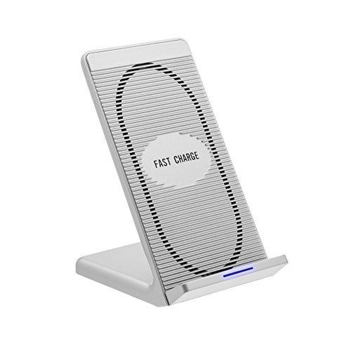Price comparison product image Wireless Charger,  YACYA Ultra-Slim Wireless Charging Pad Stand with Cooling Fan for Apple iPhone 8 / 8 Plus,  iPhone X,  Galaxy Note 8,  Samsung S8 / S7 / S6,  Nexus 4 / 5 / 6 / 7,  and More Qi-Enabled Device-Silver