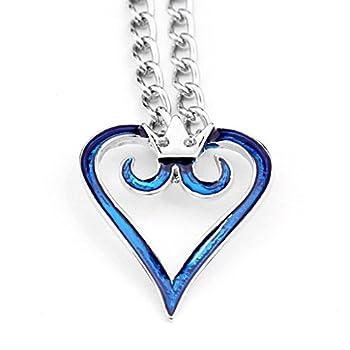 Cosplay Anime Kingdom Hearts 2 Crown Logo Pendant Blue Heart Necklace Charm