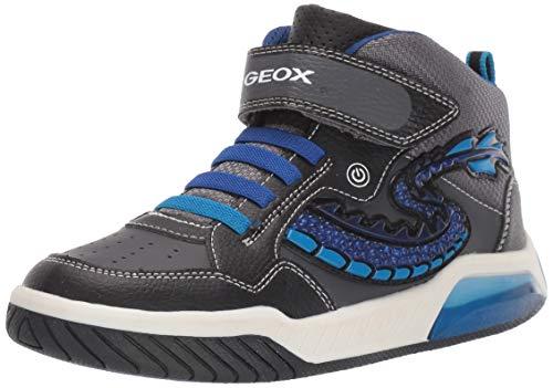 Geox Jungen J INEK Boy E Hohe Sneaker, Schwarz (Black/Royal C0245), 24 EU