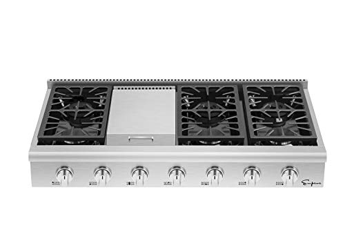 Empava 48 in. Pro-Style Professional Slide-in Natural Gas Rangetop with 6 Deep Recessed Sealed Ultra...