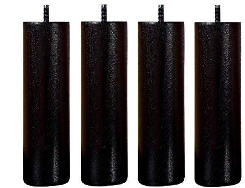 Lot 4 Pieds Noir 35 cm Noir Tige M8 Standard Cadre Bois