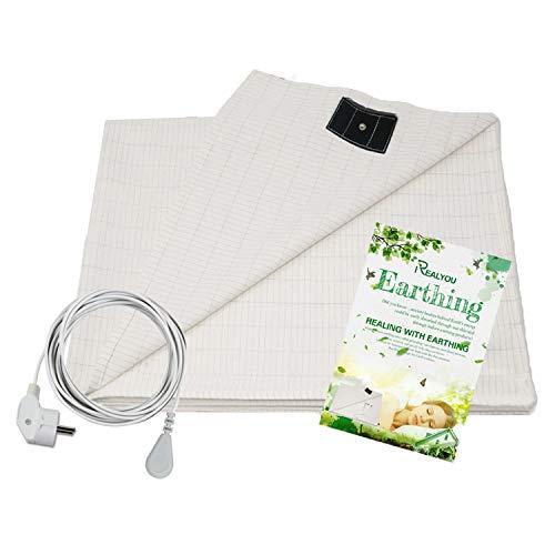 Sábana de conexión a tierra, mitad cama hoja para grounding- sábana de color beige, pure algodón con hilos de plata (152 * 203 cm)