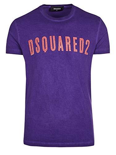 DSQUARED2 Herren T-Shirt mit violettem Logo, kurzärmelig - Violett - X-Groß