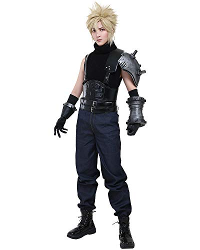 Cosplay.fm Men's Cloud Strife Cosplay Costume Turtleneck Sweater with Soldier Belts (XL, Black)