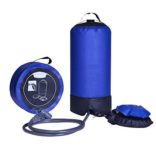 SXDY Sac Chauffant de Bain Solaire Multifonctionnel Portable 11L, Douche de Camping avec Pompe à Pied et buse de Douche, Fond avec Sortie d'eau - pour la Plage, la Natation, Les Voyages