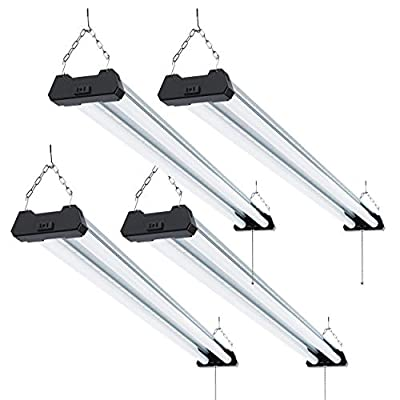 Sunco Lighting 4 PACK - ENERGY STAR - 4ft 40W LED Industrial Utility Shop Light, 4000lm 300W Equivalent, Double Integrated LED Fixture, Aluminum Design, Ceiling Light, Garage, Frosted (5000K-Daylight)
