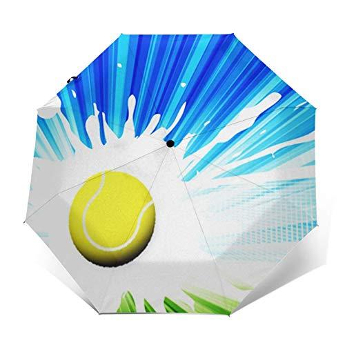 Paraguas Plegable Automático Impermeable Red de cancha de Tenis, Paraguas De Viaje Compacto A Prueba De Viento, Folding Umbrella, Dosel Reforzado, Mango Ergonómico