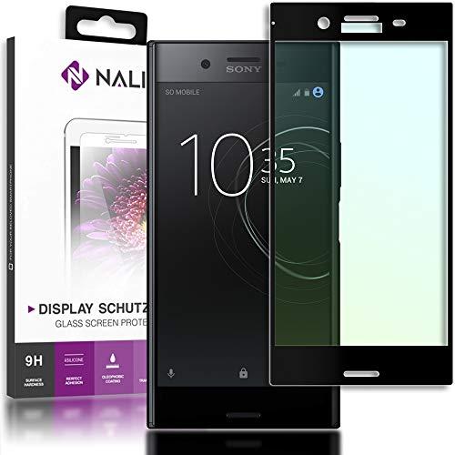 NALIA Cristal Templado Compatible con Sony Xperia XZ Premium, Vidrio Blindado Película Protectora Display Cobertura, 9H Protector de Pantalla Telefono Celular Tempered-Glass - Transparente (Negro)