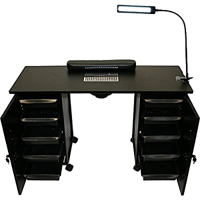 LCL Beauty Black Steel Vented Double Storage Manicure Nail Table