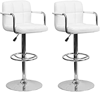South Mission Chic Elite Modern Adjustable Synthetic Leather Swivel Bar Stools   High-back armrest   White - Set of 2