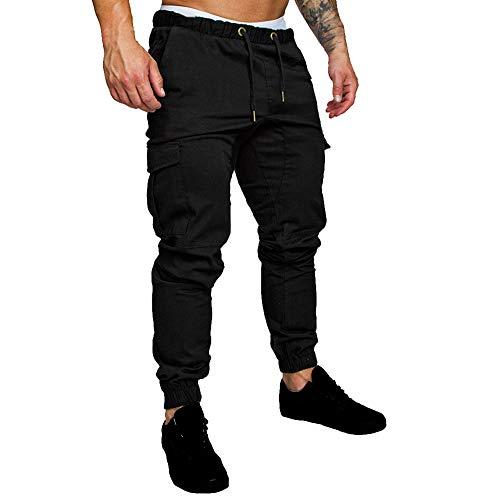 Vertvie Herren Casual Hosen Hosen Harem Sweatpants Slacks Lässige Jogger Sportwear Baggy Comfy Pant(Schwarz, M)