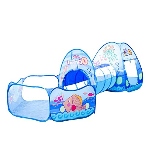Childlike Zelt Für Kinder, Cartoon 3-in-1 Spielzelt, Baby Tunnel Crawl Zelt, Kinder Spielen Haus Ocean Ball Pool, 300 X 120 X 90 cm