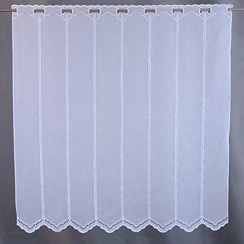 Scheibengardine Borte Lochstickerei weiß Höhe 30/45/60/90 oder 120cm | Breite der Gardine frei wählbar in 10,5cm Schritten | Gardine | Panneaux | (Höhe 90cm)