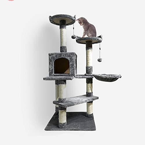GXCX Kratzbaum, Sisal-Kratzbaum Mit Katzenschale, PlüSch-Katzenbett, KatzenklettergerüSt, 2 Bequeme Aussichtsplattformen, HöHe 135 cm, Mehrfarbige Optionen Gray