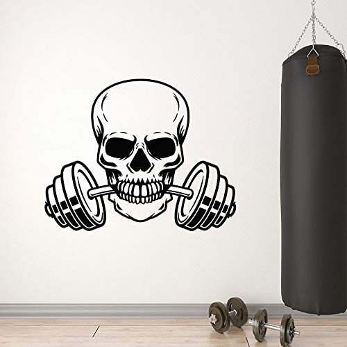 Wall Decals Skull Barbell Iron Sports Fan Weight Loss Gym People cave Interior Decoration Doors and Windows Vinyl Stickers Creative Wallpaper