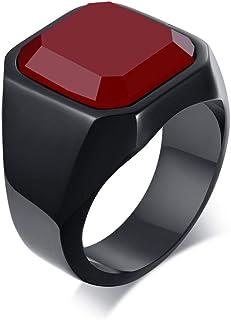 خاتم ختم عصري من الستانلس ستيل مع العقيق الاسود للرجال من ميل جوت، خاتم خنصر للاب، هدية مثالية لعيد الأب