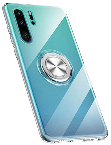 Hülle kompatibel mit Huawei P30/P30 Pro/P30 Lite,Ultra Dünn Clear Transparente TPU + PC Handyhülle Mit 360 ° Verdrehbare Ring,und Kickstand mit Magnet auf Backcover Schutzhülle (Huawei P30 Pro, 3)