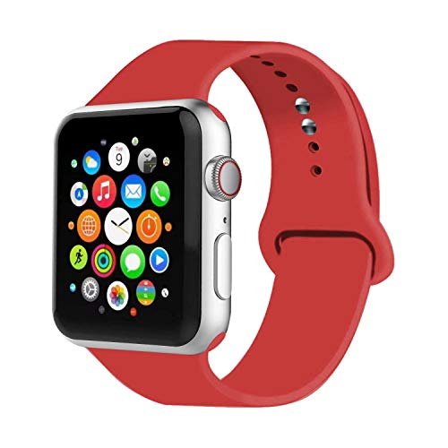 IYOU Sport Band Compatible with Watch Band 38MM 42MM 40MM 44MM, Soft Silicone Replacement Sport Strap Compatible with 2018 Watch Series 4/3/2/1 (Red,42MM, M/L)
