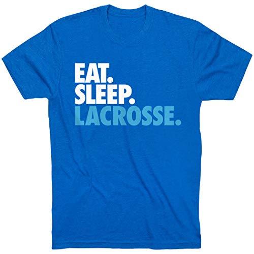 Eat Sleep Lacrosse T-Shirt | Lax Tees by ChalkTalk Sports | Royal Blue | Youth Large