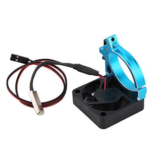 GXX Ventilador De Enfriamiento del Disipador De Calor De La Abrazadera del Metal del Motor con El Sensor Térmico Apto para 1/8 1/10 RC CarBlue