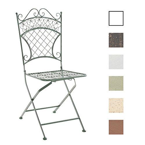 CLP Eisen-Klappstuhl ADELAR Design I Klappbarer Gartenstuhl mit edlen Verzierungen I erhältlich Antik Grün