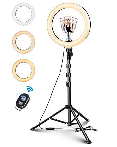 ELEGIANT 10' Aro de Luz Selfie Trípode, Anillo de Luz LED con Soporte para Móvil con Control Remoto Regulable para Transmisión en Vivo, Maquillaje Youtube Tiktok Fotografía Compatible con iOS Android