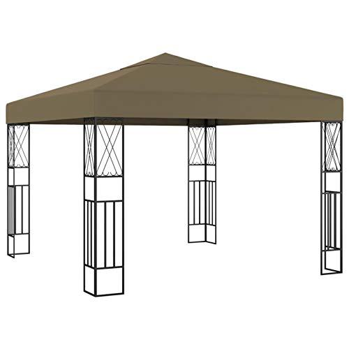 Tidyard Cenador de Jardín Carpa Cenador para Exterior Cenador Pérgola Jardín Patio de Tela Gris Taupé 3x3 m