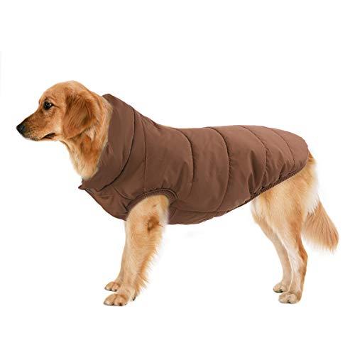 TFENG Hundemantel Hundejacke für Hunde, Warm gepolstert Puffer Weste Welpen mit Fleece, Braun, Größe XS