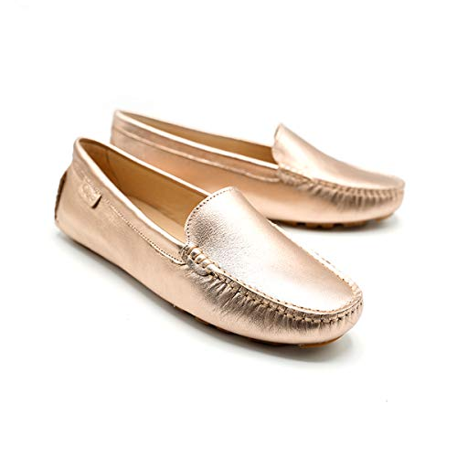 OOG Damen Klassisch Wildleder Krawatte Penny Loafers Gemütlich Handgefertigt Damen Mokassins Slippers in Rose Gold 39 EU