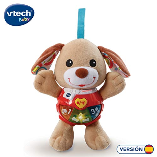 VTech - Peque Perrito de Peluche Interactivo con Canciones Voces y Actividades Que estimulan al bebé en Diferentes aspectos Desarrollo Motor, del lenguaje y sensorial, Color marrón (3480-502322)