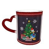 Tazza da caffè grande, motivo albero di Natale con Paperino, tazza da tè in ceramica, per donne, uomini, ragazzi, ragazze, rosso