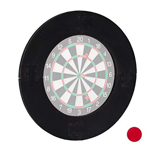 Relaxdays Unisex– Erwachsene Dart Catchring R7, 4-teilig, Schutzring für 45cm Dartscheibe, stabil, Wandschutz, EVA, Gesamt-Ø 72 cm, schwarz, 72 x 72 x 3 cm
